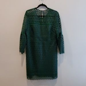 JCrew green eyelet dress NWT 14